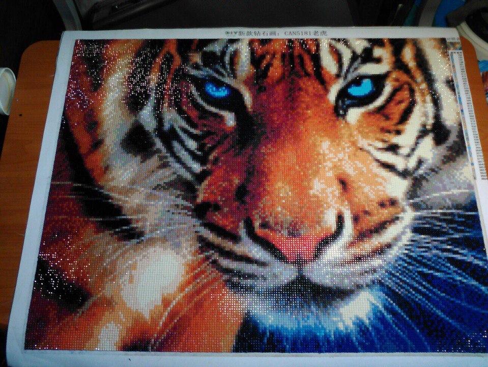 Алмазная вышивка тигры полная выкладка 33