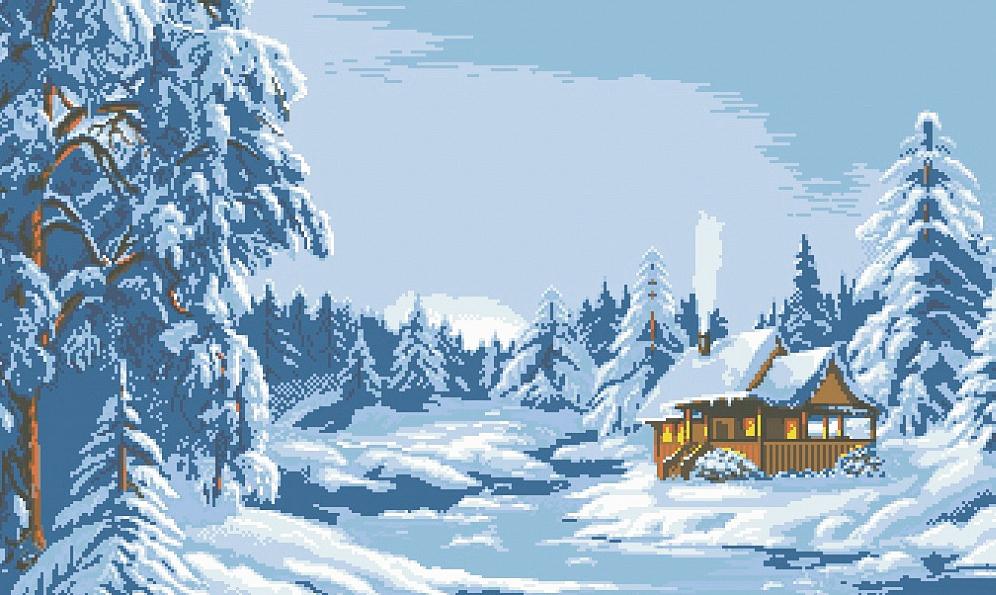 Алмазная вышивка зимний