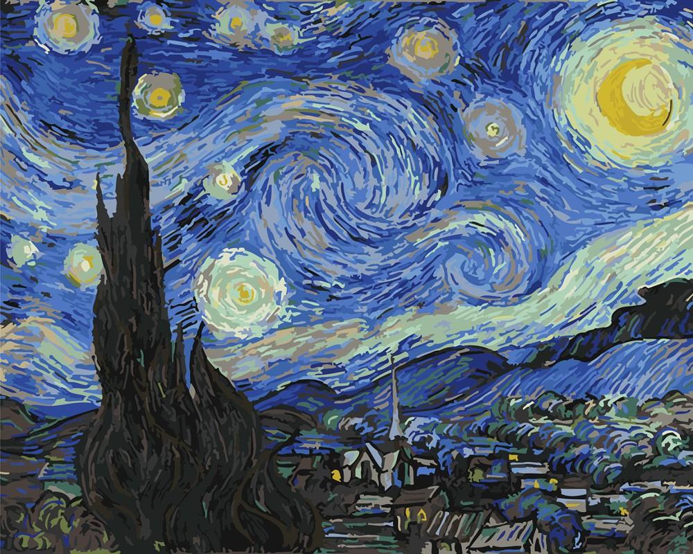Картина по номерам Звездная ночь. Ван гог, 40х50см купить