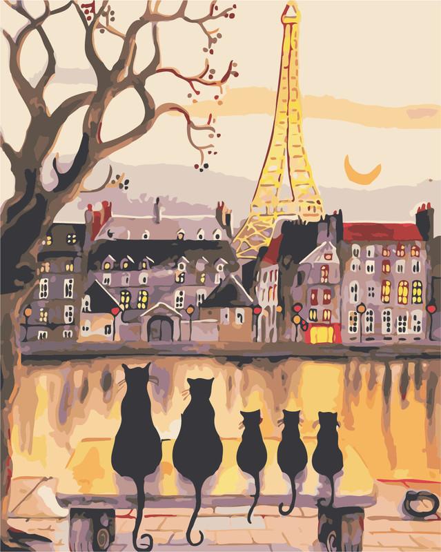 Картина по номерам Парижские коты 40 х 50 см купить в Киеве